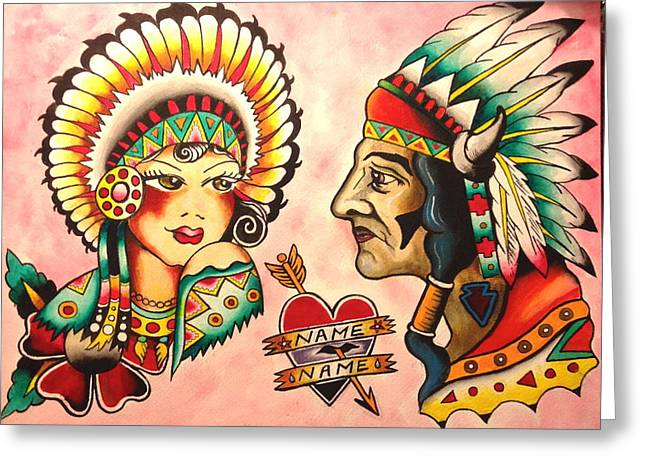Tattoo Flash Paintings Greeting Cards - Native Flash Sheet Greeting Card by Britt Kuechenmeister