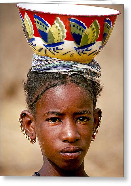 Gold Earrings Photographs Greeting Cards - Native Girl In Niger Greeting Card by Carl Purcell
