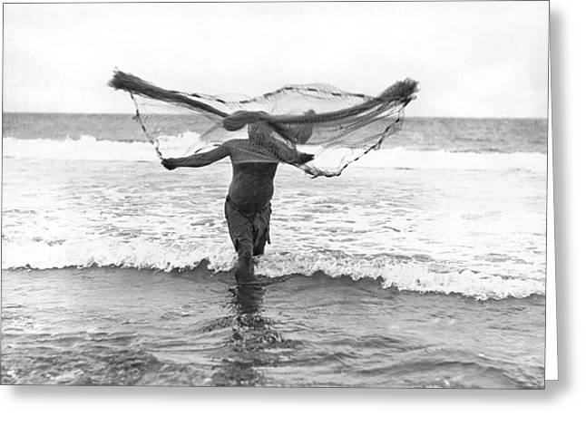 Netting Greeting Cards - Native Hawaiian Fisherman Greeting Card by Underwood Archives