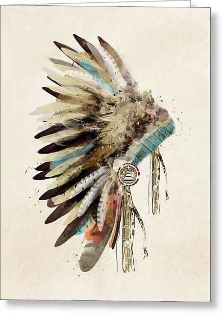 Native American Illustration Greeting Cards - Native Headdress Greeting Card by Bri Buckley