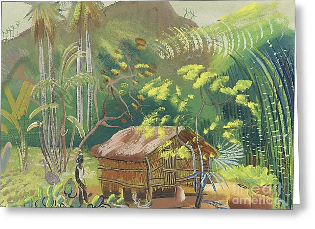 Strength Paintings Greeting Cards - Native Hut Brazil Greeting Card by Celestial Images