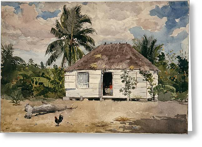 Marines Greeting Cards - Native Huts Greeting Card by Winslow Homer