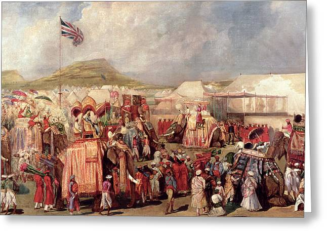 Elephants Greeting Cards - Native Princes Arriving In Camp For The Imperial Assemblage At Delhi, 1877 Greeting Card by George Landseer