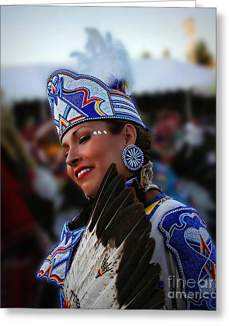 Fancy-dancer Greeting Cards - Native Princess in color Greeting Card by Scarlett Images Photography