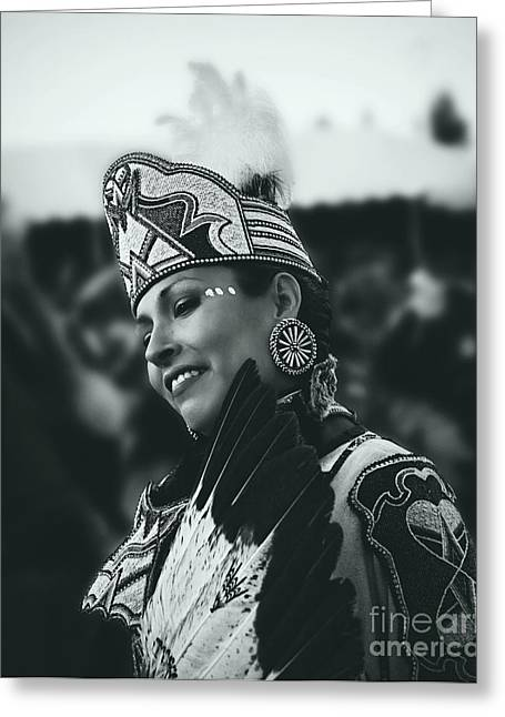 Fancy-dancer Greeting Cards - Native Princess in silver screen tone Greeting Card by Scarlett Images Photography