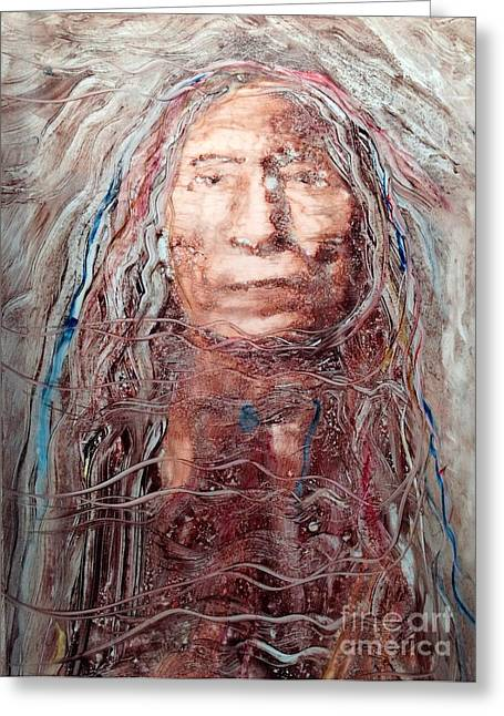 Aboriginal Mixed Media Greeting Cards - Native Roots Greeting Card by FeatherStone Studio Julie A Miller