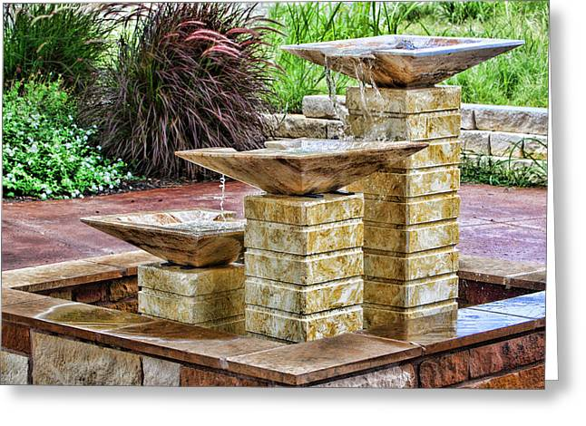 Dripping Rose Greeting Cards - Native Texas Stone Fountain Greeting Card by Linda Phelps