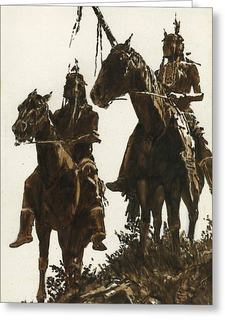 Indian Warriors Greeting Cards - Two Indians Horseback Greeting Card by Don  Langeneckert