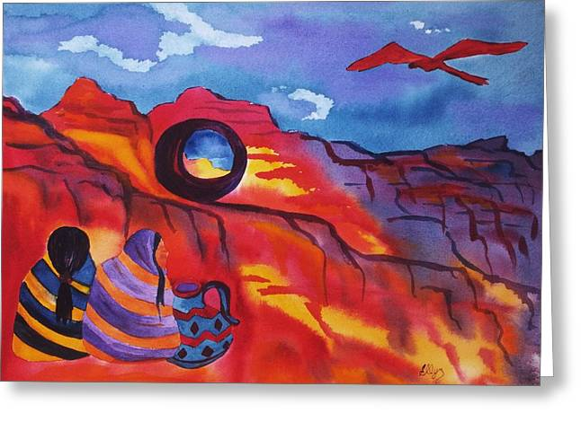 Art Collectors Greeting Cards - Native Women at Window Rock Greeting Card by Ellen Levinson