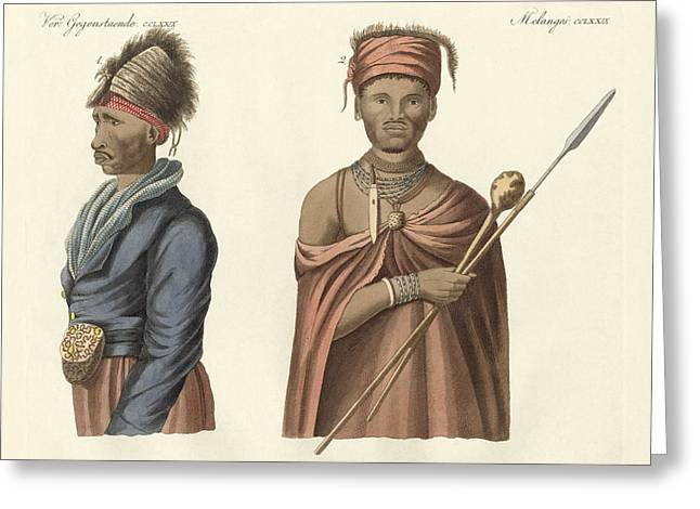 Halb Greeting Cards - Natives of South Africa Greeting Card by Splendid Art Prints