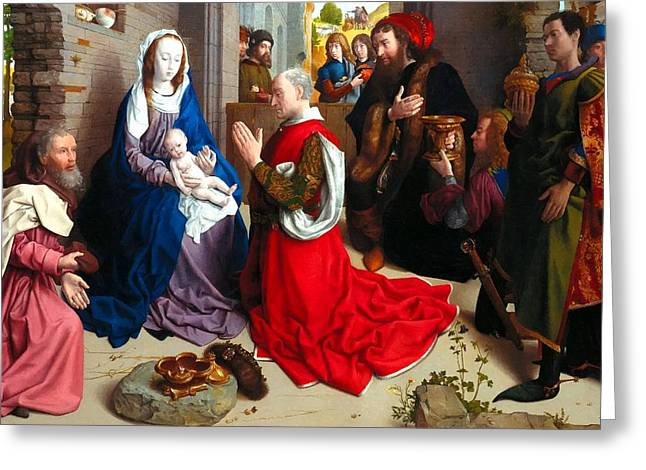 Nativity And Adoration Of The Magi Greeting Card by Munir Alawi