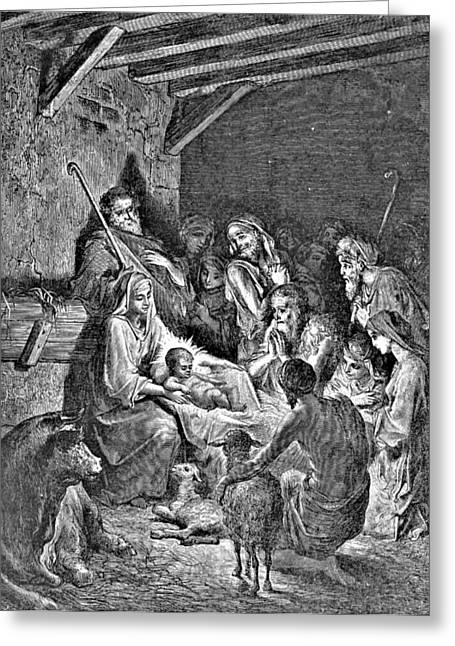 Pen And Ink Drawing Greeting Cards - Nativity Bible Illustration Engraving Greeting Card by