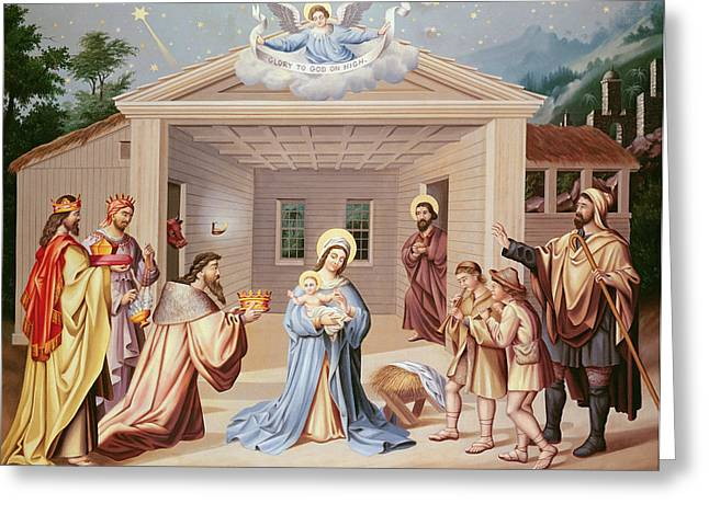 Adoration Greeting Cards - Nativity, Early 19th Century Oil On Canvas Greeting Card by American School