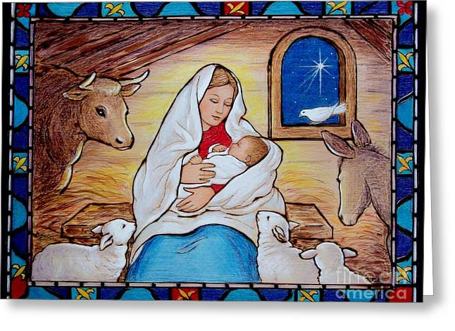 Christianity Pyrography Greeting Cards - Nativity Greeting Card by Eileen Annest