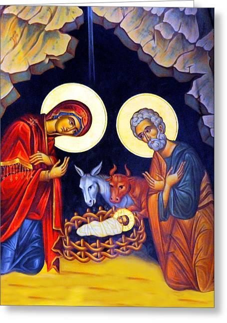 Baby Jesus Greeting Cards - Nativity Feast Greeting Card by Munir Alawi
