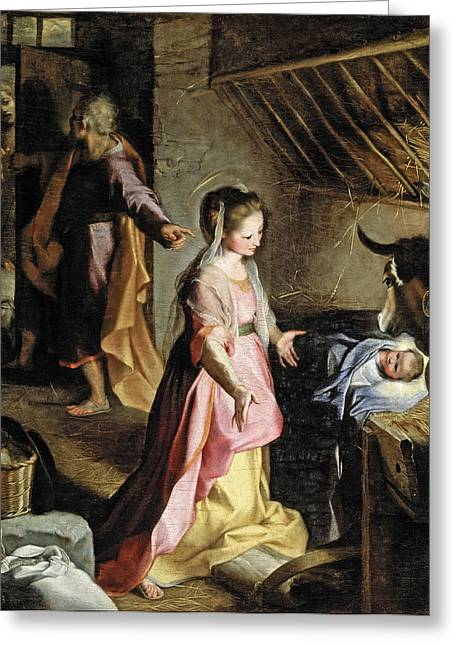 Nativity Greeting Card by Federico Barocci