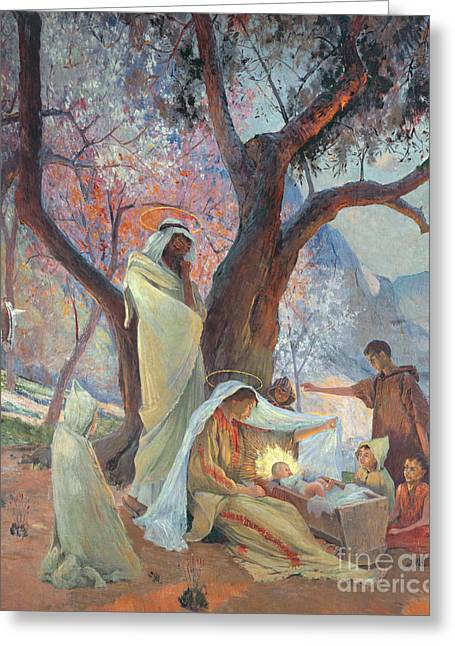 Messiah Greeting Cards - Nativity Greeting Card by Frederic Montenard