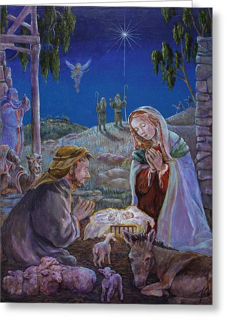 Angel With Star Greeting Cards - Nativity Greeting Card by Jan Mecklenburg
