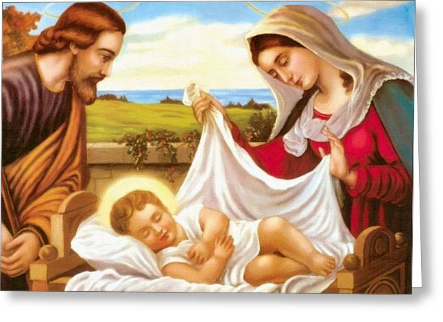 Catholic Art Greeting Cards - Nativity Jesus Greeting Card by Victor Gladkiy
