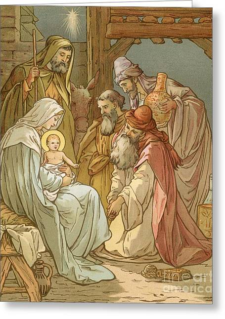 Manger Greeting Cards - Nativity Greeting Card by John Lawson