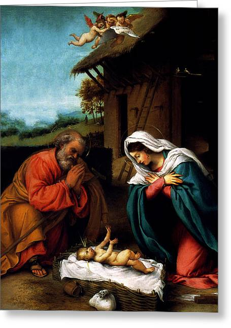 Christ Child Mixed Media Greeting Cards - Nativity Greeting Card by Lorenzo Lotto
