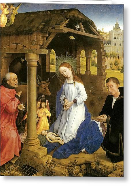 Rogier Van Der Weyden Greeting Cards - Nativity  Greeting Card by Rogier Van Der Weyden