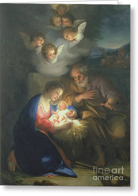 Spiritual Paintings Greeting Cards - Nativity Scene Greeting Card by Anton Raphael Mengs