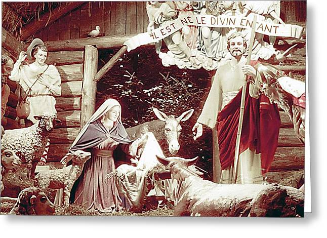 Saint Joseph Greeting Cards - Nativity Scene in Montreal Greeting Card by George Cousins