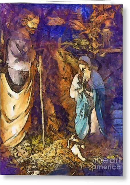 Saint Joseph Digital Greeting Cards - Nativity scene Greeting Card by Sophie McAulay