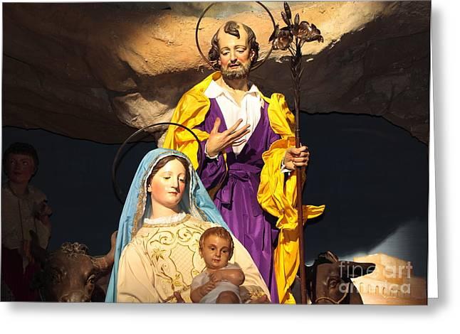 Navidad Greeting Cards - Christmas Nativity Scene Greeting Card by Stefano Senise