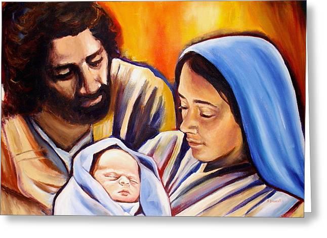 Sheila Diemert Greeting Cards - Nativity Greeting Card by Sheila Diemert