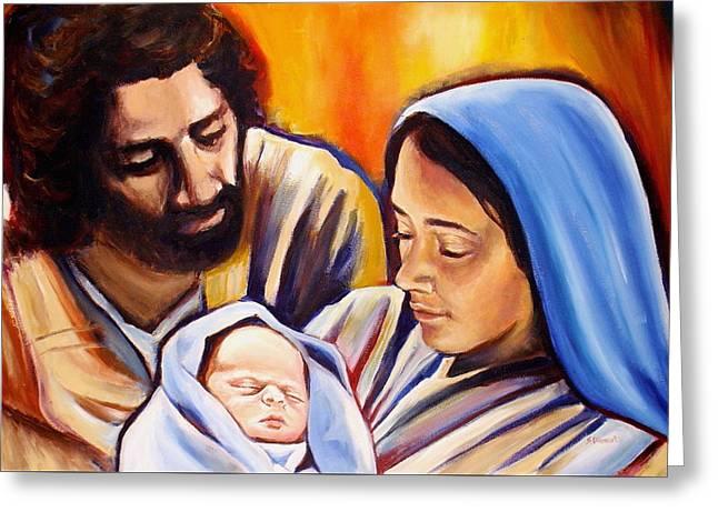 Sheila Diemert Paintings Greeting Cards - Nativity Greeting Card by Sheila Diemert