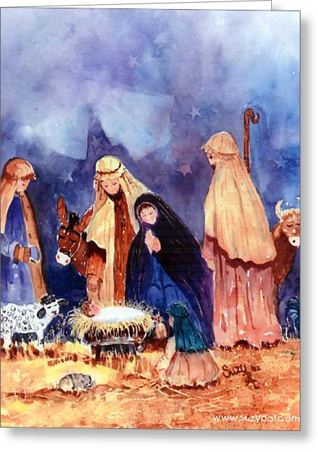 Religious ist Paintings Greeting Cards - Nativity Greeting Card by Suzy Pal Powell