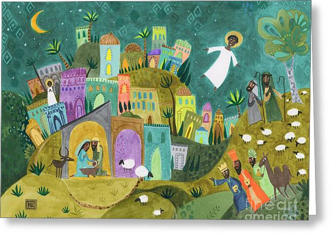 Religious Art Greeting Cards - Nativity Three Greeting Card by Kate Cosgrove