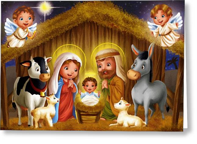 Catholic Art Greeting Cards - Nativity Greeting Card by Victor Gladkiy