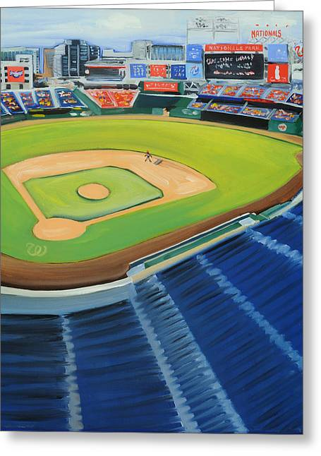Nats Ballpark Greeting Card by Anne Lewis