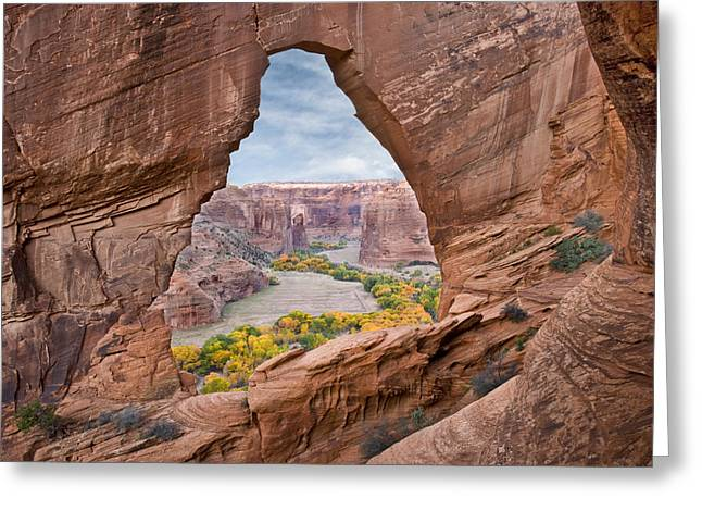 A Natural Bridge Greeting Cards - Natural Arch And River Valley Canyon De Greeting Card by Tom Vezo