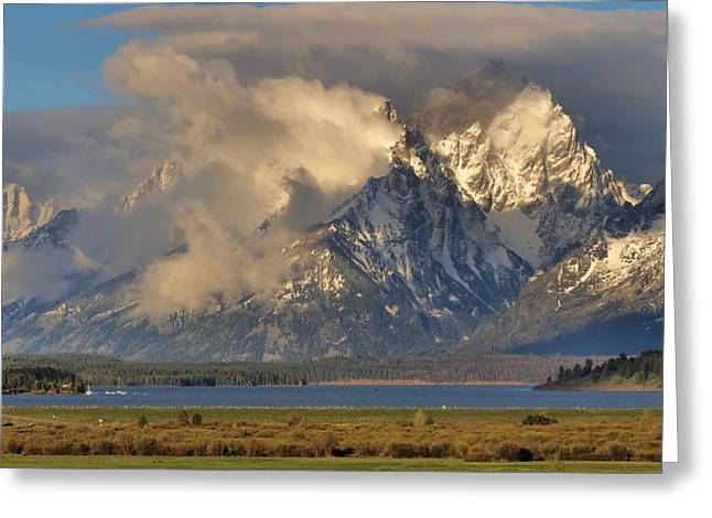Cloud Reflections In Water Greeting Cards - Teton Mountain Range In Clouds Greeting Card by Dan Sproul