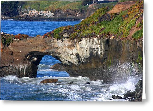 Steamer Lane Greeting Cards - Natural Bridge Greeting Card by Ru Tover