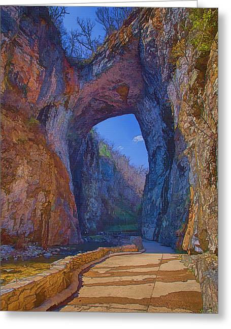 Arch Greeting Cards - Natural Bridge Virginia Greeting Card by Joan Carroll
