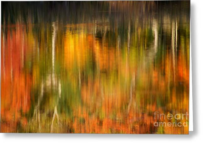 """autumn Foliage New England"" Greeting Cards - Natural Brushstrokes - New England Autumn reflections  Greeting Card by Thomas Schoeller"