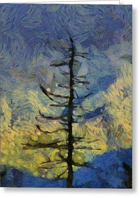 Bare Trees Mixed Media Greeting Cards - Natural Connection Greeting Card by Dan Sproul