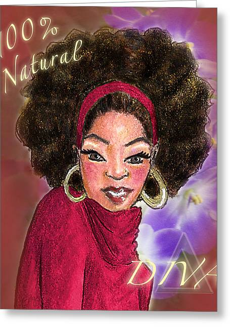 Hoops Mixed Media Greeting Cards - Natural Diva Greeting Card by BFly Designs