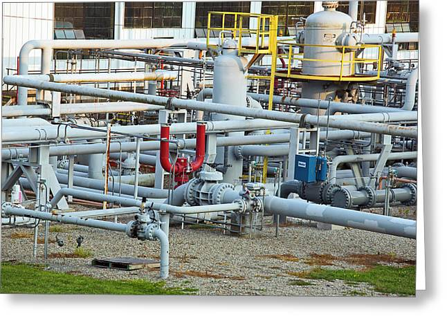 Natural Gas Compressor Station Greeting Card by Jim West