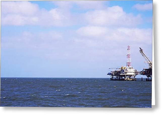 Mobile Greeting Cards - Natural Gas Drilling Platform In Mobile Greeting Card by Panoramic Images