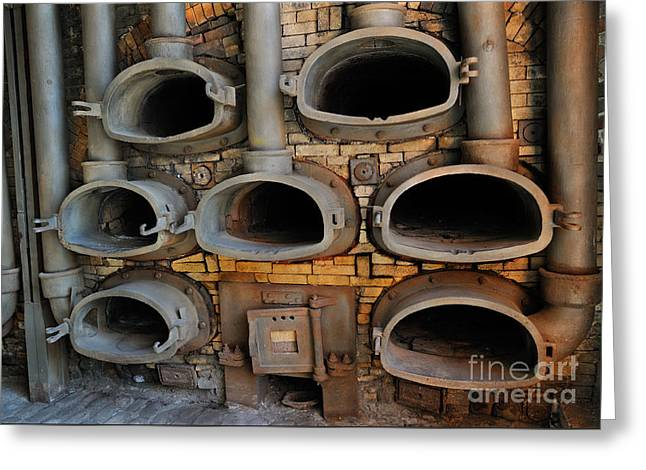 Charcoal Ovens Greeting Cards - Natural Gas Factory Greeting Card by Grigorios Moraitis