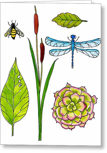 Honey Bee Greeting Cards - Natural History by the Pond Greeting Card by Blenda Studio