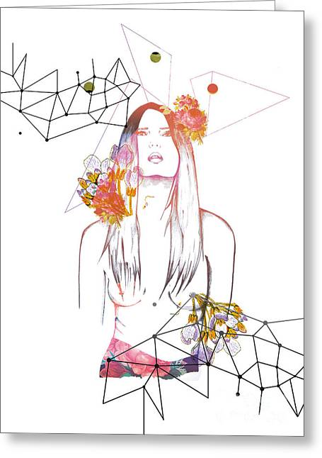 print Mixed Media Greeting Cards - Natural Nude Greeting Card by Mariam Tronchoni