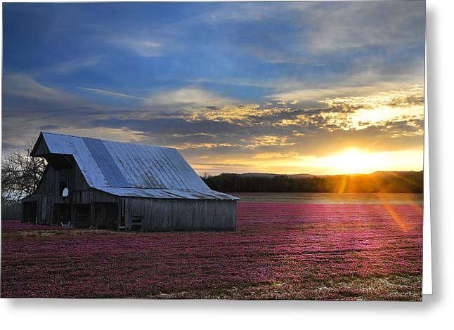 Randall Branham Greeting Cards - Natural red White Blue Barn  Landscape Greeting Card by Randall Branham