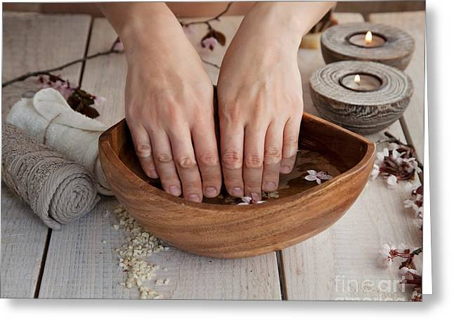 Mythja Greeting Cards - Natural spa manicure  setting Greeting Card by Mythja  Photography